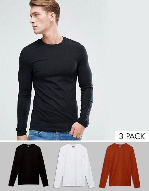 ASOS - Lot de 3 t-shirts très moulants à manches longues Économie