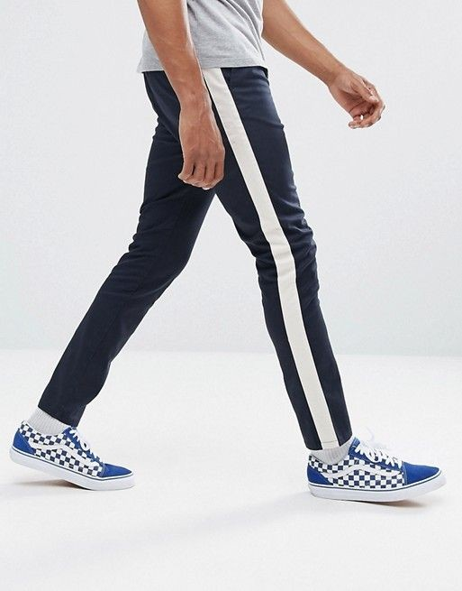 ASOS - Pantalon skinny avec bande latérale - Bleu marine