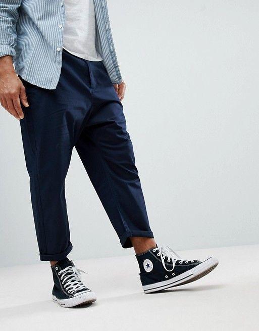 ASOS - Pantalon chino fuselé oversize - Bleu marine