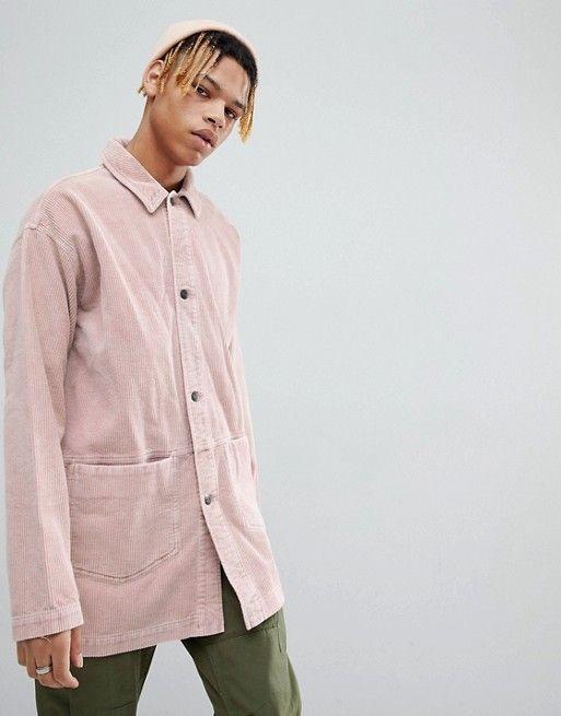 ASOS - Veste style workwear en velours côtelé - Rose