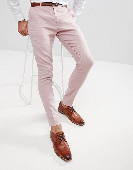 ASOS - Pantalon élégant super ajusté en lin - Rose