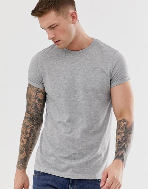 ASOS DESIGN - T-shirt ras de cou à manches retroussées