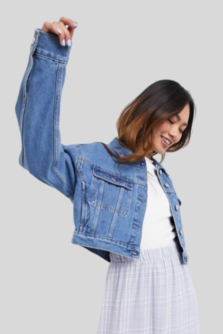 Veste en jean rétrécie style camionneur - Bleu