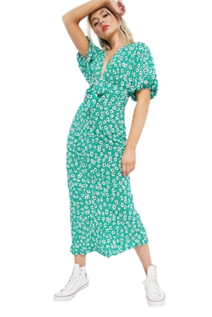 Robe longue avec devant noué et imprimé fleuri - Fond vert