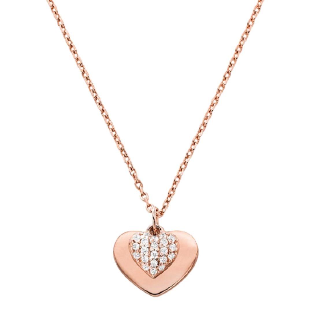Collier cœur en argent sterling plaqué en métal précieux avec pierres pavées